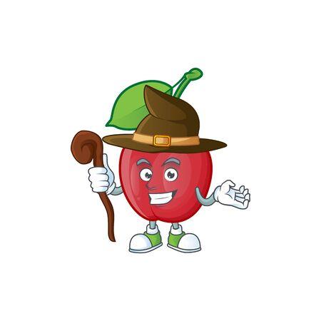 Witch bing cherries sweet in character mascot shape. vector illustration Stock Illustratie
