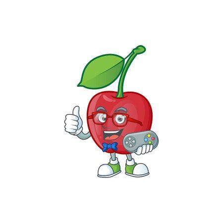 Gamer bing cherries sweet in character mascot shape. vector illustration Stock Illustratie