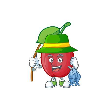 Fishing bing cherries sweet in character mascot shape. vector illustration