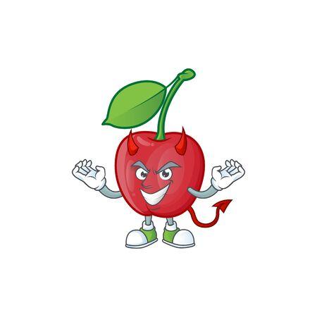 Devil bing cherries sweet in character mascot shape. vector illustration