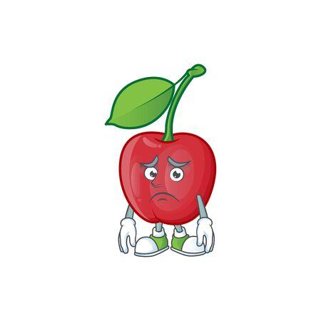 Afraid bing cherries sweet in character mascot shape. vector illustration Stock Illustratie