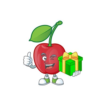 With gift bing cherries sweet in character mascot shape. vector illustration