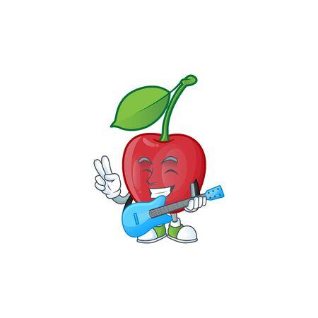 With guitar bing cherries sweet in character mascot shape. vector illustration Zdjęcie Seryjne - 129816784