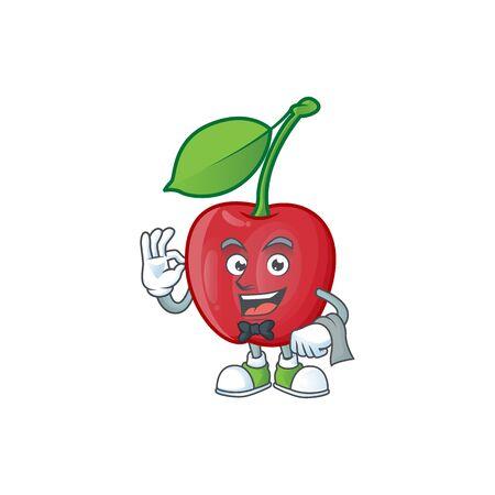 Waiter bing cherries sweet in character mascot shape. vector illustration