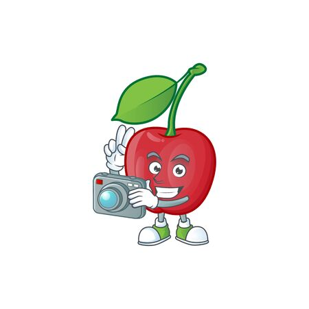 Photographer bing cherries sweet in character mascot shape. vector illustration