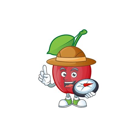 Explorer bing cherries sweet in character mascot shape. vector illustration