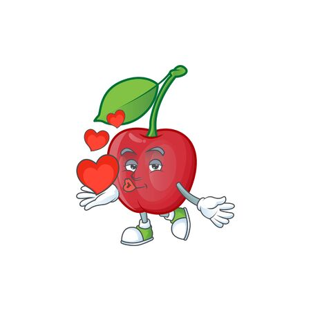 With heart bing cherries sweet in character mascot shape. vector illustration