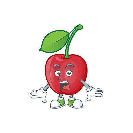 Surprised bing cherries sweet in character mascot shape. vector illustration Stock Illustratie
