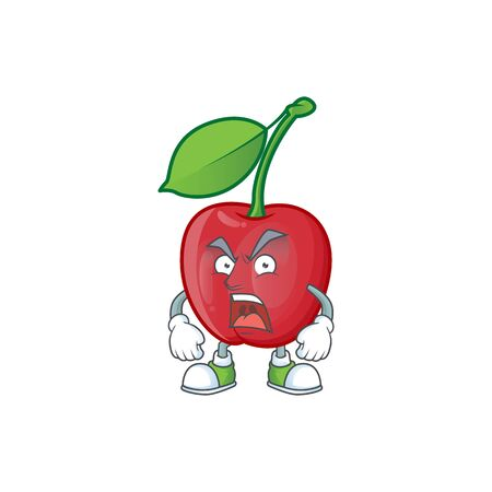 Angry bing cherries sweet in character mascot shape. vector illustration