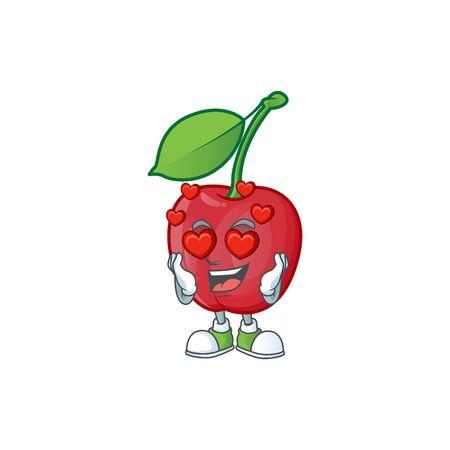 In love bing cherries sweet in character mascot shape. vector illustration Stock Illustratie