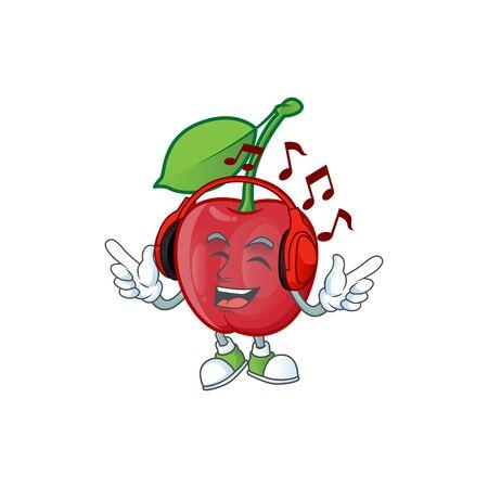 Listening music bing cherries sweet in character mascot shape. vector illustration