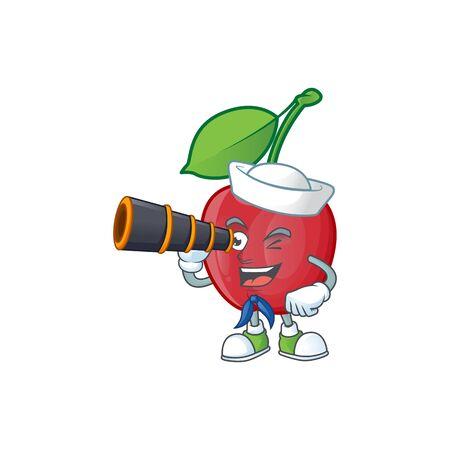 Sailor with binocular bing cherries sweet in character mascot shape. vector illustration Stock Illustratie