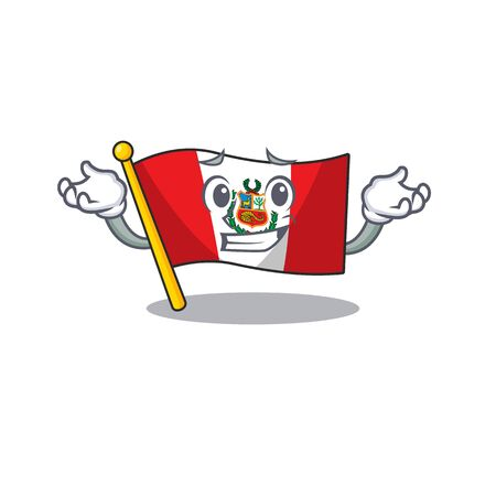 Grinning flag peru character shaped on cartoon Ilustrace