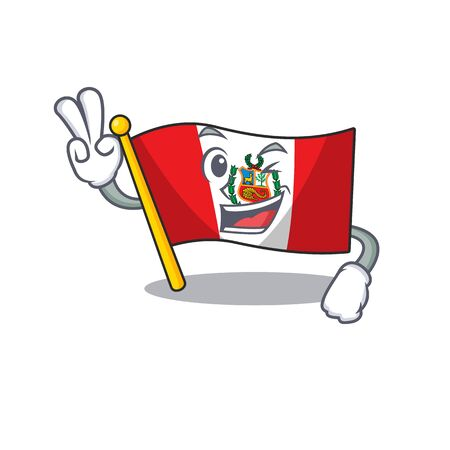 Two finger flag peru character shaped on cartoon