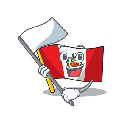 With flag peru flag stored in character drawer Illustration