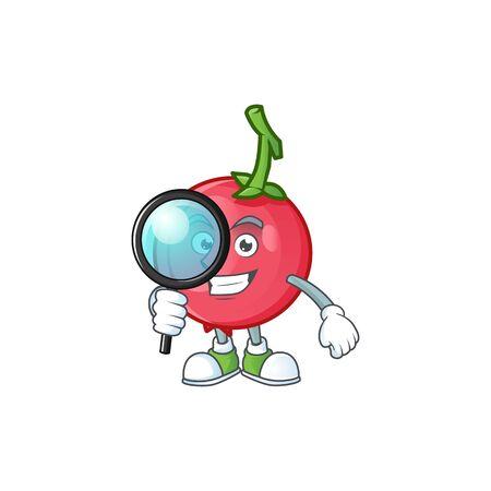 Detective cartoon lovi lovi fruit with mascot vector illustration