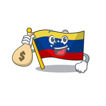 With money bag flag venezuela with the cartoon shape