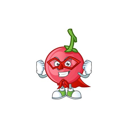 Super hero cartoon lovi lovi fruit with mascot vector illustration Stock Illustratie