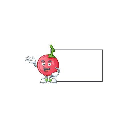 With board lovi lovi fruit in character mascot vector illustration