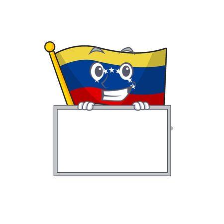 Grinning with board flag venezuela with the cartoon shape vector illustration Çizim