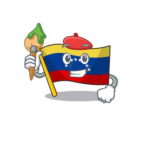 Artist flag venezuela with the cartoon shape Иллюстрация
