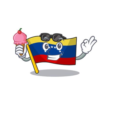 With ice cream venezuela flag in the character cupboard Stock Illustratie