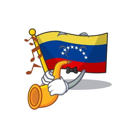 With trumpet flag venezuela isolated with the cartoon