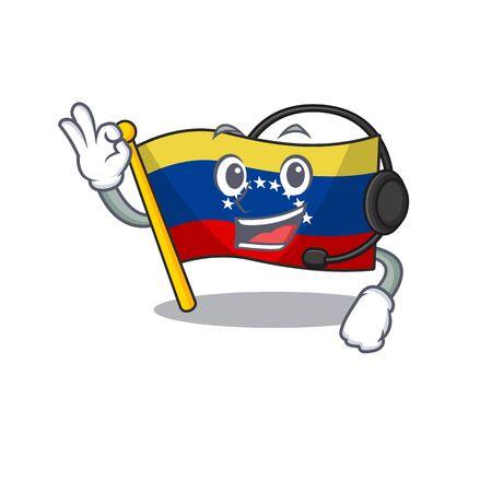 With headphone venezuelan flag hoisted on mascot pole 向量圖像