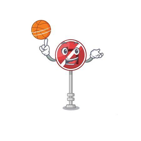 With basketball no left turn on the mascot Фото со стока - 129816854