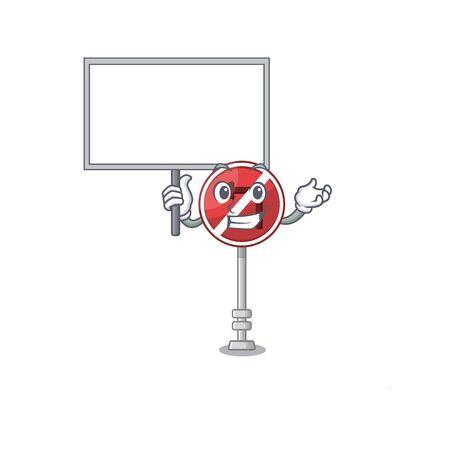 Bring board no left turn on the mascot Illustration