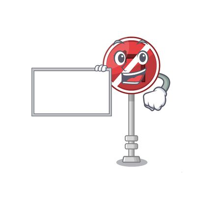 With board no left turn on the mascot Illustration