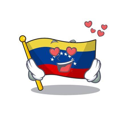 In love flag venezuela isolated with the cartoon