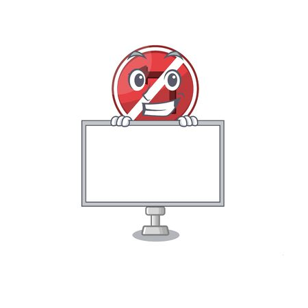 Grinning with board no left turn on the mascot Illustration