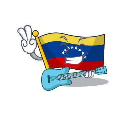With guitar flag venezuela isolated with the cartoon