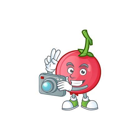 Photographer sweet lovi lovi fruit for icon character. vector illustration 일러스트