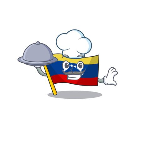 Chef with food flag venezuela isolated with the cartoon vector illustration