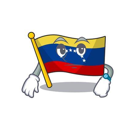 Waiting venezuelan flag hoisted on mascot pole