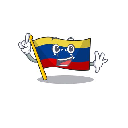 Finger venezuelan flag hoisted on mascot pole vector illustration