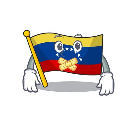 Silent venezuelan flag hoisted on mascot pole 向量圖像