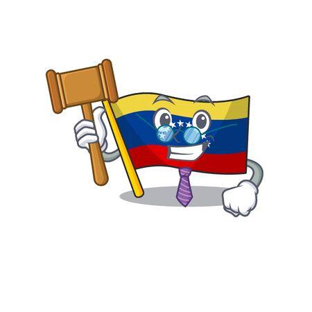 Judge venezuelan flag hoisted on mascot pole