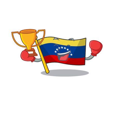 Boxing winner venezuelan flag hoisted on mascot pole 向量圖像