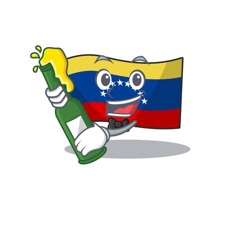 With beer venezuelan flag hoisted on mascot pole