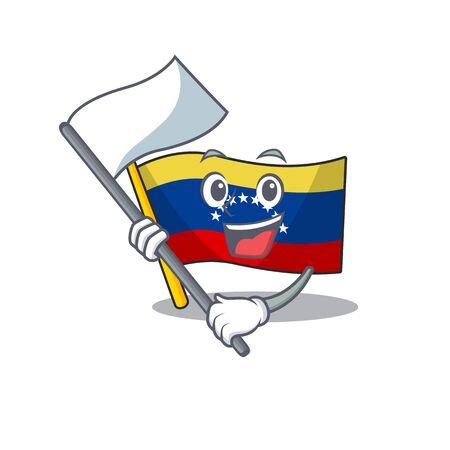 With flag venezuelan flag hoisted on mascot pole