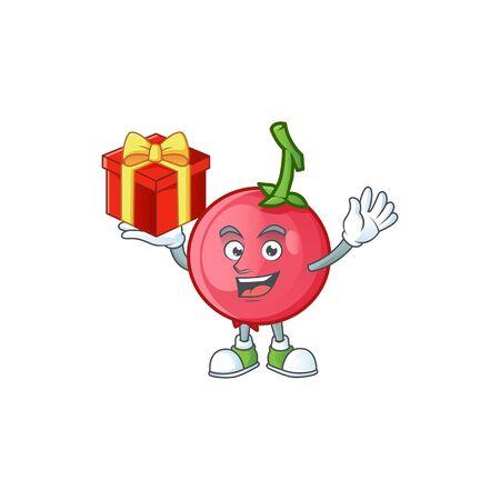 Bring gift mascot lovi lovi fruit on white background vector illustration Иллюстрация