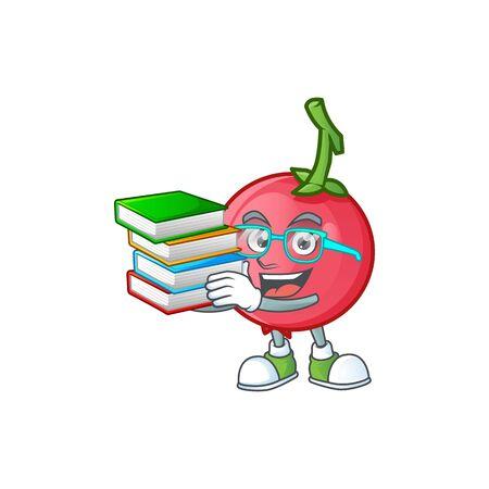 Student with book mascot lovi lovi fruit on white background vector illustration Çizim