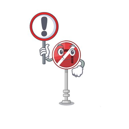 With sign no left turn on the mascot Иллюстрация
