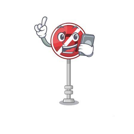 With phone no left turn on the mascot Фото со стока - 129816873