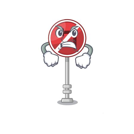 Angry no left turn with cartoon shape Фото со стока - 129816884