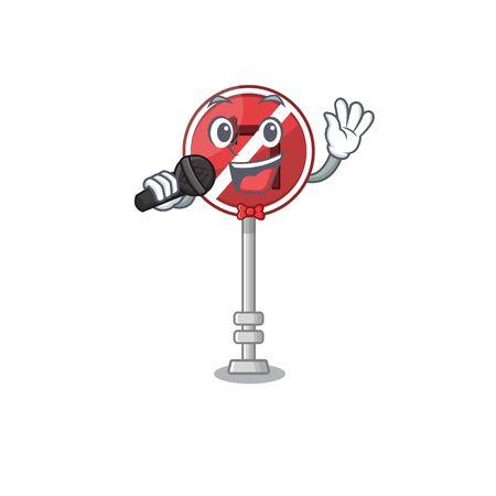 Singing no left turn with cartoon shape vector illustration