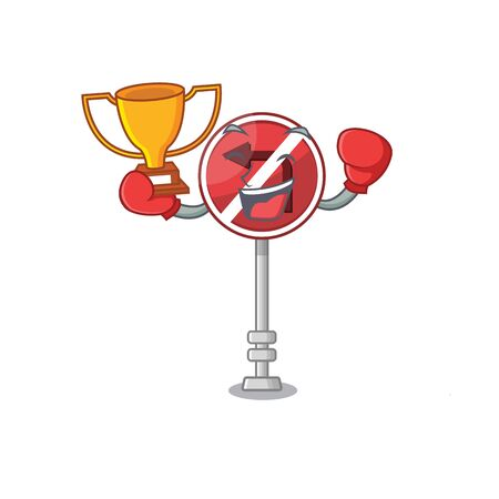 Boxing winner no left turn with the cartoon Иллюстрация